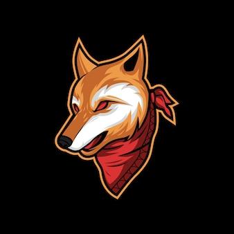 Logo della mascotte di illustrazione vettoriale testa di lupo arancione