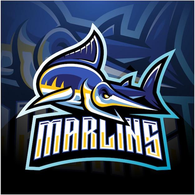Logo della mascotte di marlin esport