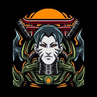 Logo della mascotte di ninja cyborg esport