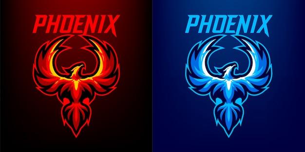 Logo della mascotte di phoenix per lo sport e esport isolato