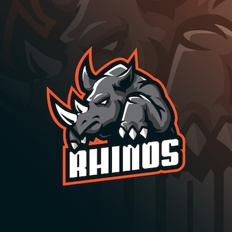 Logo della mascotte di rinoceronte con stile moderno di illustrazione per stampa di badge, emblemi e magliette.