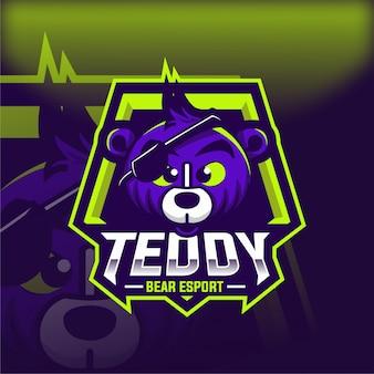 Logo della mascotte di teddy bear esport
