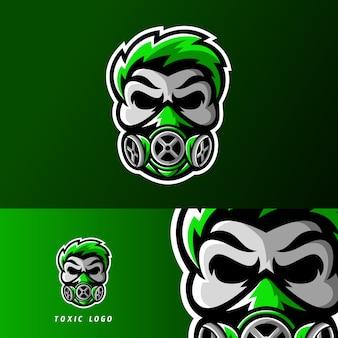 Logo della mascotte di teschio tossico sport o esportazione gioco mascotte