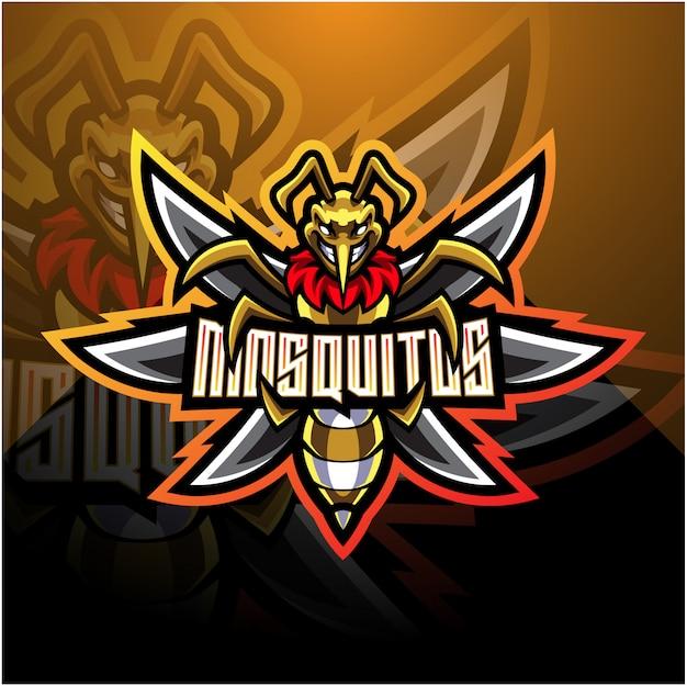 Logo della mascotte di zanzara esport