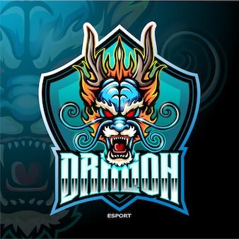 Logo della mascotte drago cinese per il logo di gioco sportivo elettronico