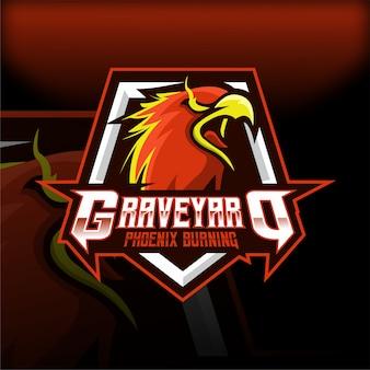 Logo della mascotte esport burning phoenix cimitero