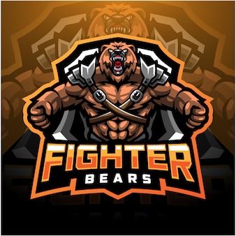 Logo della mascotte esport combattente orso