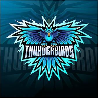 Logo della mascotte esport di uccelli del tuono