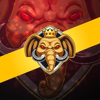 Logo della mascotte esport elefante