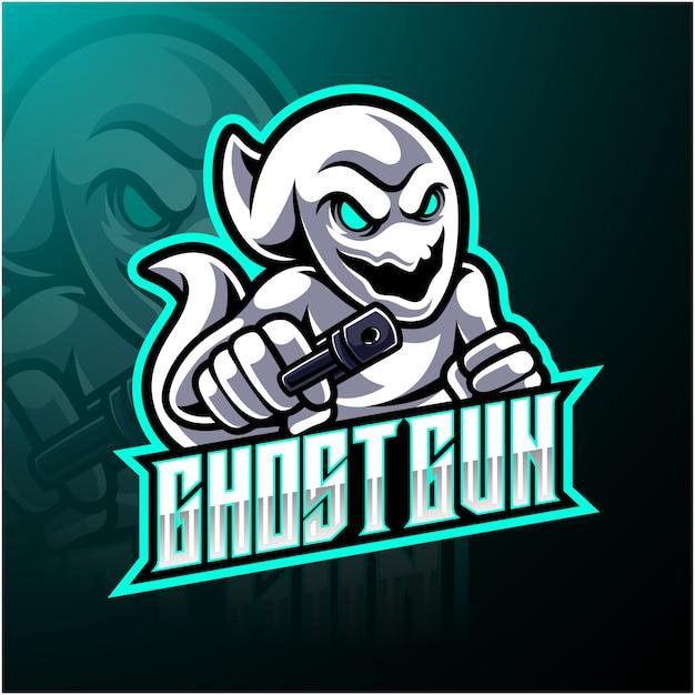 Logo della mascotte esport pistola fantasma
