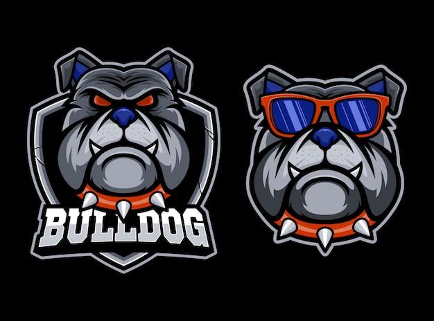 Logo della mascotte esport testa di bulldog