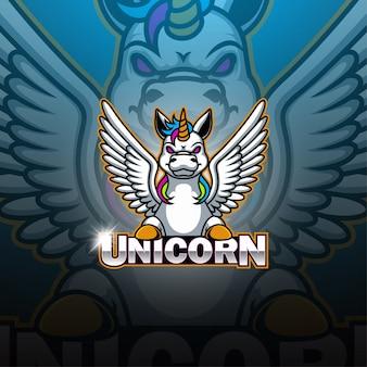 Logo della mascotte esport unicorno