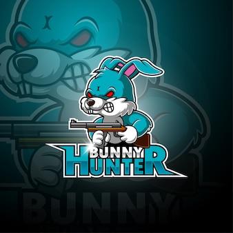 Logo della mascotte esportatore di coniglietto cacciatore