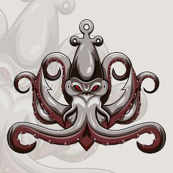 Logo della mascotte esportatore di polpo kraken
