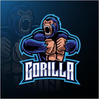 Logo della mascotte gorilla arrabbiato desain