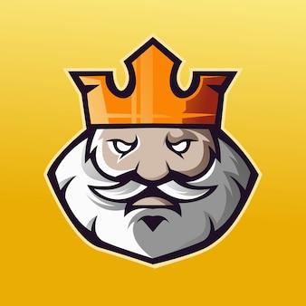 Logo della mascotte old king per giochi, esport, youtube, streamer e twitch