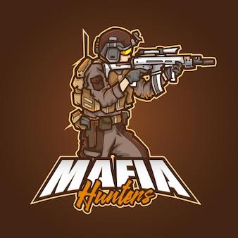 Logo della mascotte sportiva modificabile e personalizzabile, cacciatori di mafia con logo esports