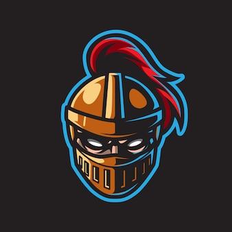 Logo della mascotte testa di cavaliere oscuro