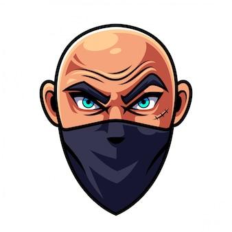 Logo della mascotte testa uomo calvo