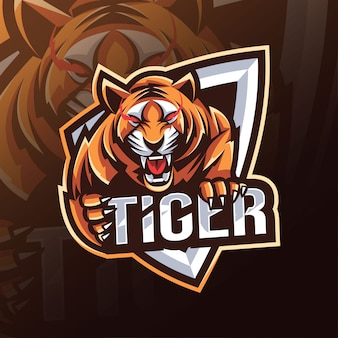 Logo della mascotte tigre design esport