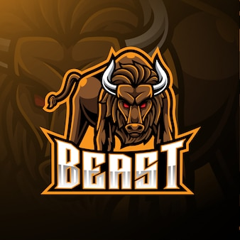 Logo della mascotte toro arrabbiato