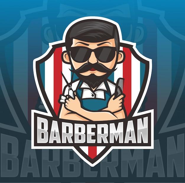 Logo della mascotte uomo barbiere