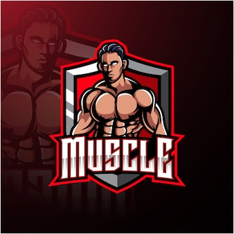 Logo della mascotte uomo muscoloso