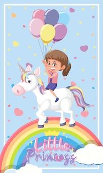 Logo della piccola principessa con ragazza che guida su unicorno e arcobaleno nel cielo su sfondo blu brillante