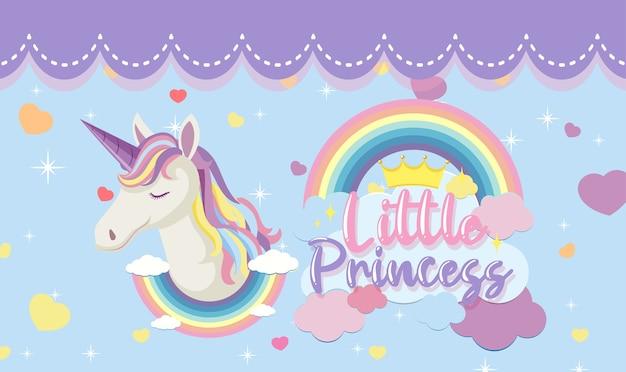 Logo della piccola principessa con testa di unicorno carino su sfondo blu