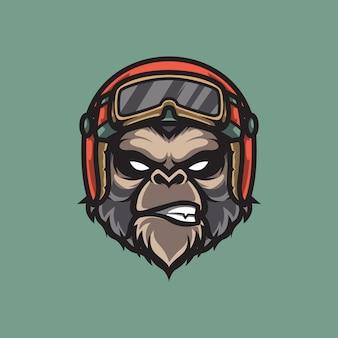 Logo della scimmia motociclista mascotte, emblema di sport motoristici