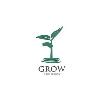 Logo della silhouette moneta trviee in crescita