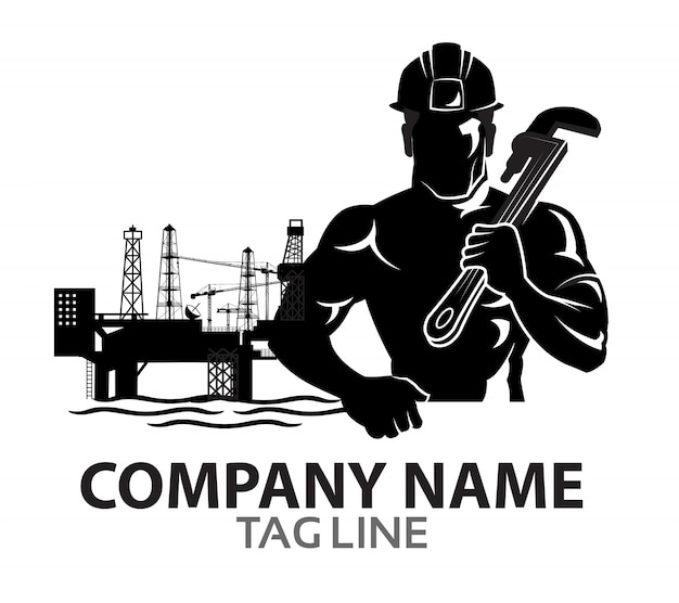 Logo della siluetta del lavoratore dell'impianto offshore