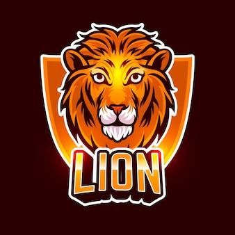 Logo della società di affari della mascotte del leone arancione