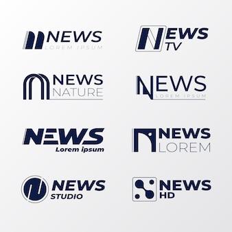 Logo della società di affari di notizie in bianco e nero
