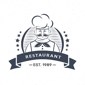 Logo della società di affari di ristorante chef retrò