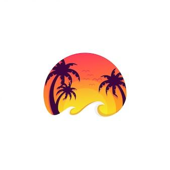 Logo della spiaggia al tramonto