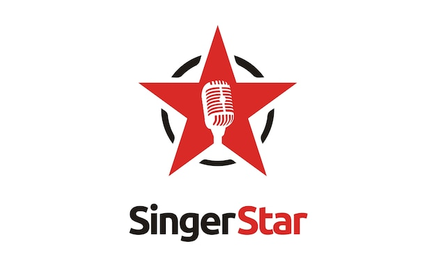 Logo della stella microfono cantante / audizione