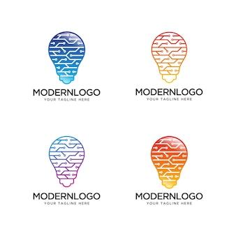 Logo della tecnologia bulb. logo idea digitale.