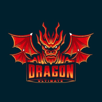 Logo della testa della mascotte del drago rosso