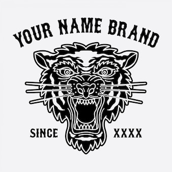 Logo della testa della tigre per abbigliamento