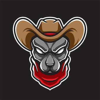Logo della testa di cane del ragazzo della mucca