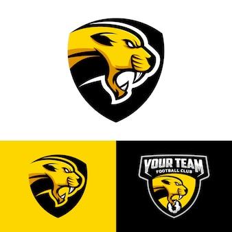 Logo della testa di cougars per il logo della squadra di calcio. . con una combinazione di badge scudi.