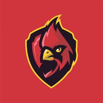 Logo della testa di mascot di uccello cardinale