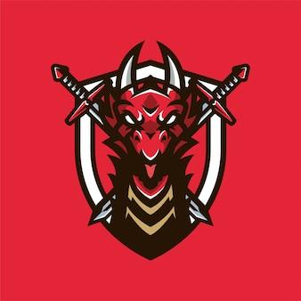 Logo della testa di mascot dragon knight