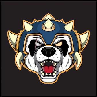 Logo della testa di panda di guerra