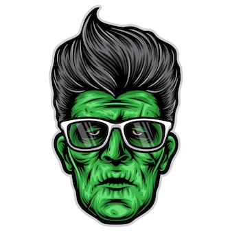 Logo della testa di rockabilly frankenstein