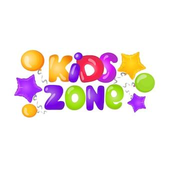 Logo della zona per bambini con lettere caramellate