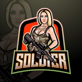 Logo delle donne soldato esport. disegno della mascotte