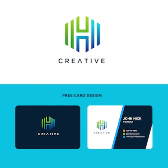 Logo design a lettera h con forma esagonale