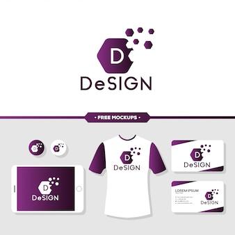 Logo design astratto branding con mockup di cancelleria